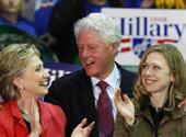 克林顿携女儿为妻助阵