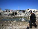 空袭后房屋变废墟