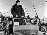 1949年毛泽东等国家领导人在西苑机场阅兵
