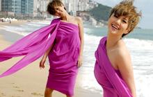 谭维维釜山海滩拍大片 丝带飞舞似女神