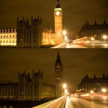 英国伦敦:国会大厦熄灯前后