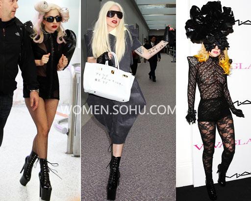 Lady Gaga得瑟过头 鞋太高尴尬摔跤-搜狐女人