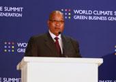 南非总统祖玛在世界气候峰会上做主题演讲