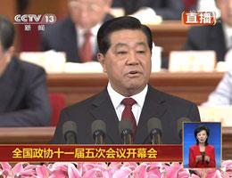 贾庆林代表政协常委会做2011年工作回顾报告