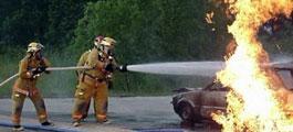 消防员正在扑灭起火的沃蓝达