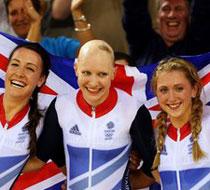 英国队打破自行车女子团体追逐赛纪录