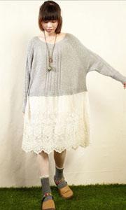 针织蕾丝长袖新款连衣裙