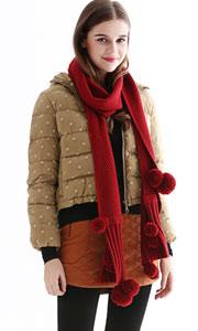 工艺针织手工毛毛球围巾