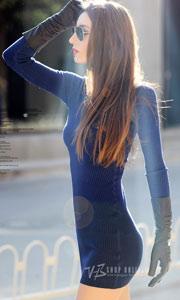 欧美高领螺纹修身针织裙