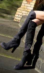 小羊皮纯色长筒女靴子
