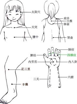 手法: 治疗咳嗽的基本手法:按揉孩子背部的肺俞穴5