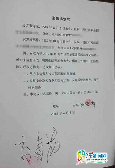 韦青龙与邱燕桦正式签订仳离协定书(三亚期货配资 网记者刘丽萍摄)