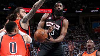 NBA-火箭3-1雷霆夺赛点 哈登送隐蔽妙传