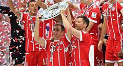 德甲-拜仁4-1收官 拉姆龙队共举冠军奖盘