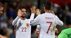 世预赛-西班牙8-0 莫拉塔击掌伊斯科