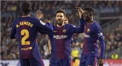 西甲-巴萨2-2 全队簇拥梅西庆祝