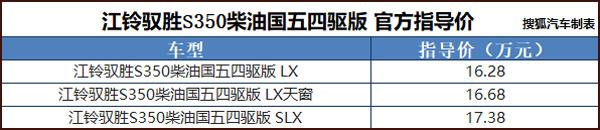 驭胜S350柴油四驱版上市 售16.28-17.38万元