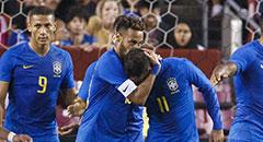 热身赛-巴西5-0 内马尔亲吻库蒂尼奥