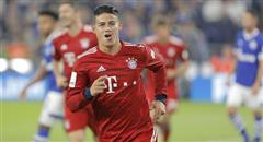 德甲-拜仁2-0 J罗搞怪吐舌庆祝